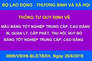 3699/VBHN-BLĐTBXH_Quy định về Mẫu Bằng tốt nghiệp Trung cấp, Cao đẳng