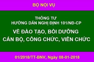 01/2018/TT-BNV_Hướng dẫn 101/2017/NĐ-CP về đào tạo bồi dưỡng cán bộ, công chức, viên chức