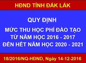 18/2016/NQ-HĐND-Mức thu học phí đào tạo từ năm học 2016-2017 đến hết năm học 2020-2021
