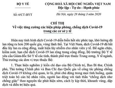 06/CT-BYT ngày 28/3/2020 của Bộ Y tế_Tăng cường các biện pháp phòng, chống COVID-19 trong cơ sở y tế