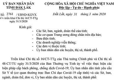 2761/UBND-KGVX ngày 31/3/2020 của UBND tỉnh Đắk Lắk về Triển khai Chỉ thị 16/CT-TTg ngày 31/3/2020 của Thủ tướng Chính phủ