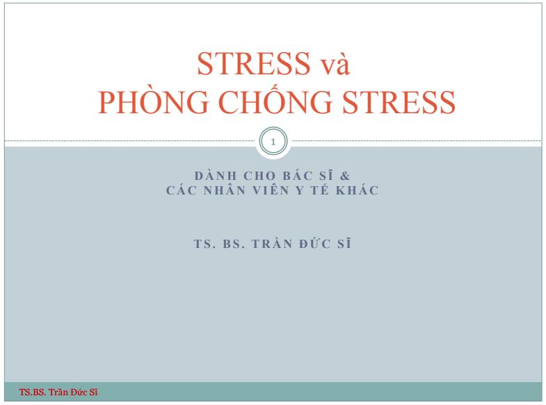 Stress và phòng chống stress